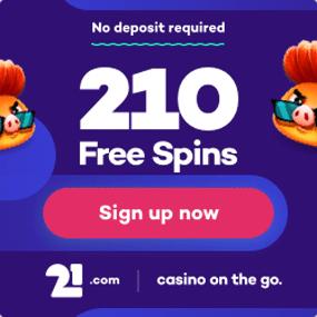 Få 210 gratis spins utan att göra en insättning.
