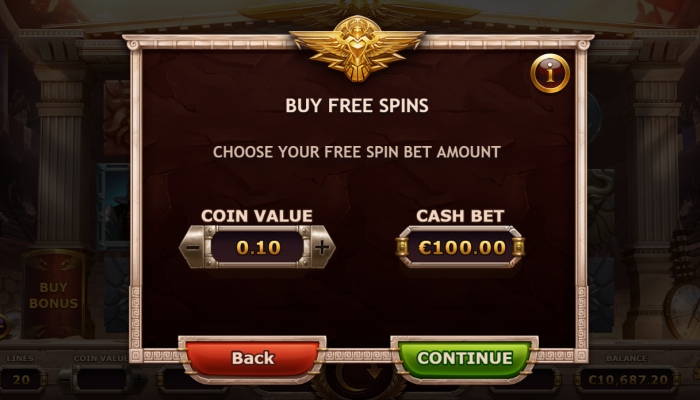 Buying free spins in Champions of Rome