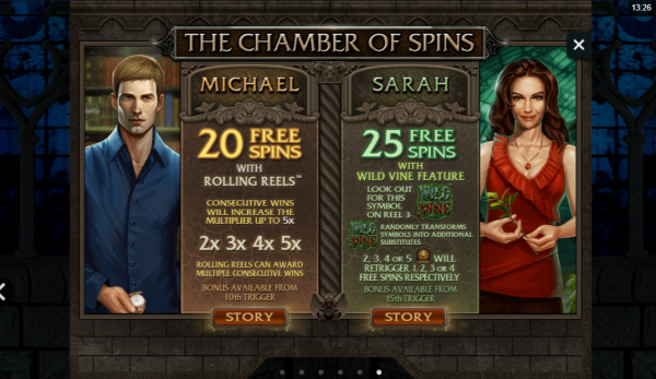 Michael and Sarah unique features Immortal Romance slot