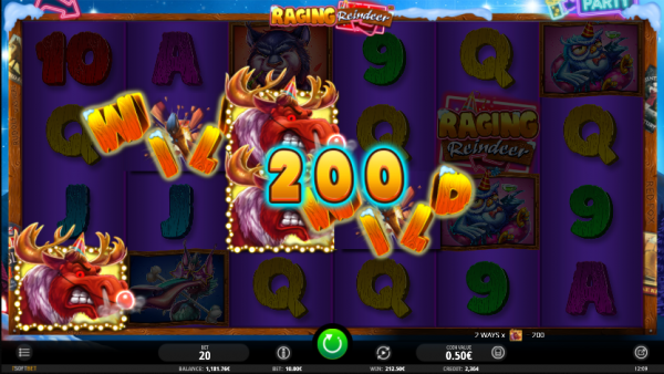 Big win while playing Raging Reindeer slot