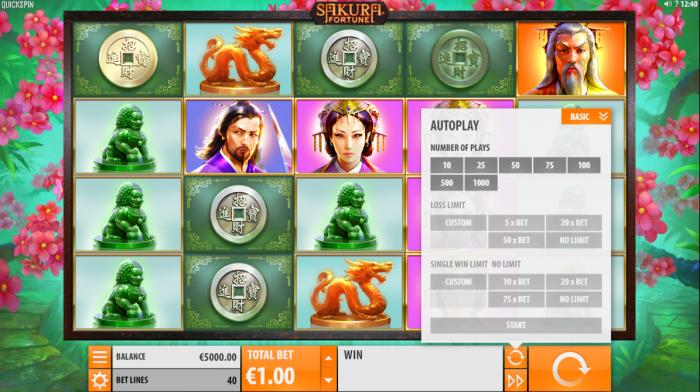 The game screen of Sakura Fortune slot