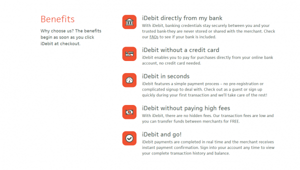 iDebit Benefits